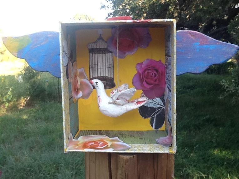 Journey Shrine: cardboard, wood, clay, acrylics, paper